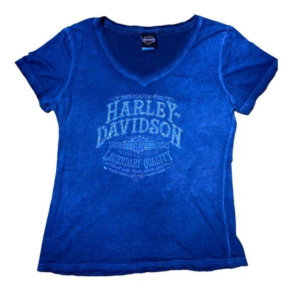 Women's Harley-Davidson Smoke Blue Rhine V-Neck